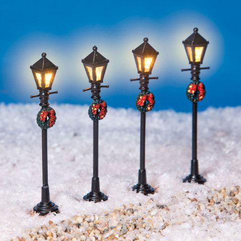 Weihnachtsdeko Straßenbeleuchtung.Miniaturlaternen Mit Kranz Led Straßenbeleuchtung