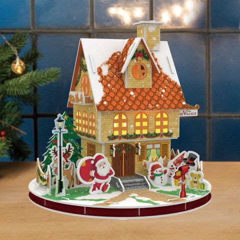 weihnachtshaus 3d puzzle mit led beleuchtung. Black Bedroom Furniture Sets. Home Design Ideas