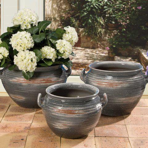 bauchiger keramik k bel grau glasiert mit bodenloch. Black Bedroom Furniture Sets. Home Design Ideas