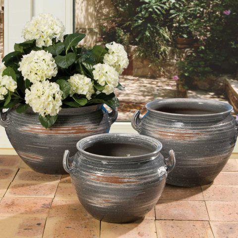 bauchiger keramik k bel grau glasiert ohne bodenloch. Black Bedroom Furniture Sets. Home Design Ideas