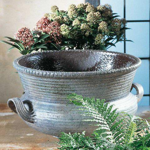 blumenk bel aus keramik in trichterform granit. Black Bedroom Furniture Sets. Home Design Ideas