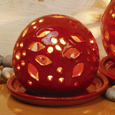 lichtkugeln aus keramik deko stimmungslampen feuerrot. Black Bedroom Furniture Sets. Home Design Ideas