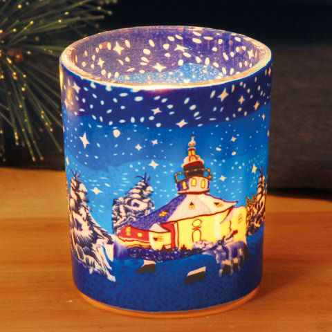 Weihnachtsdeko Seiffen.Teelichthalter Weihnachtsdeko Leuchtglas Seiffener Kirche