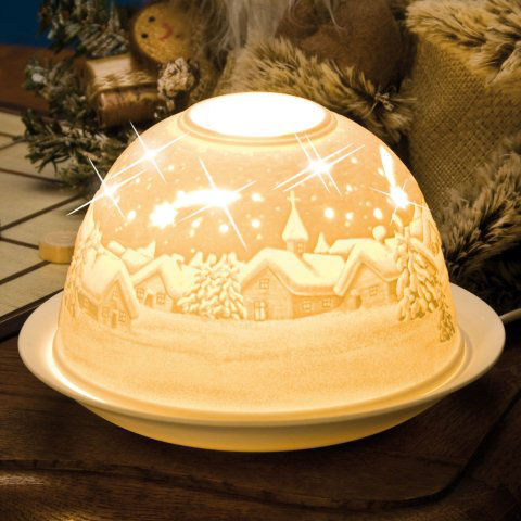 "Dome Light Maxi Porzellan-Windlicht ""Winterlandschaft"""