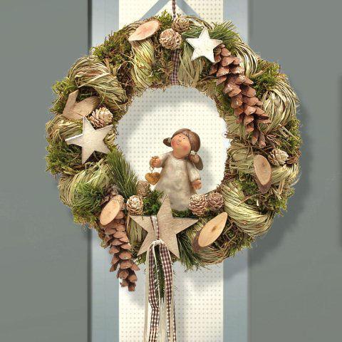 Weihnachtsdeko An Der Haustür.Türkranz Engel Haustür Weihnachtsdeko Aus Naturmaterial