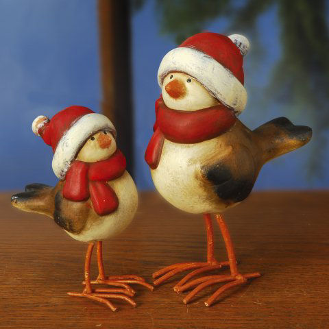 """Weihnachtsfiguren """"Wintervögel"""", 2er-Set Weihnachtsdeko"""