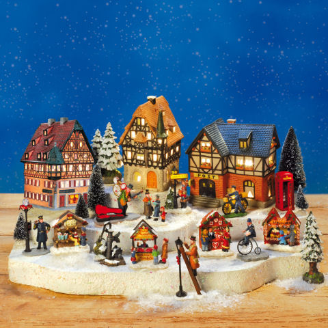 keramik weihnachtsdorf marktplatz mit h usern miniaturen und podest. Black Bedroom Furniture Sets. Home Design Ideas