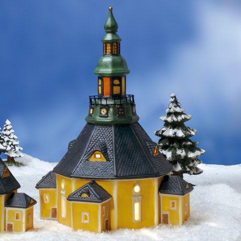 Keramik Lichthaus Weihnachtsdeko Seiffener Bergkirche
