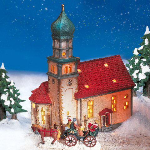"""Keramik Lichthaus Weihnachtsdeko """"Kirche in Wasserburg"""""""