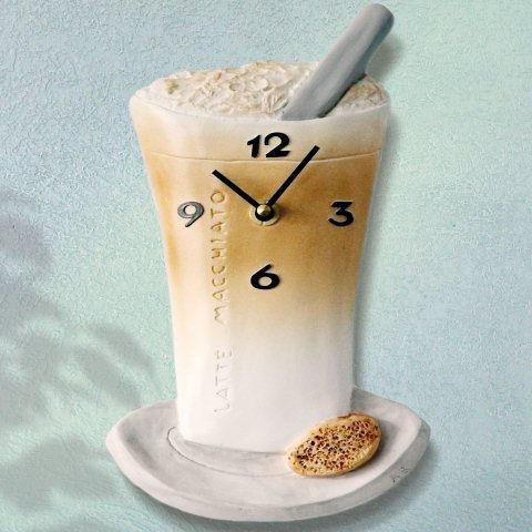 """Latte Macchiato"""", Deko Wanduhr aus Keramik"""