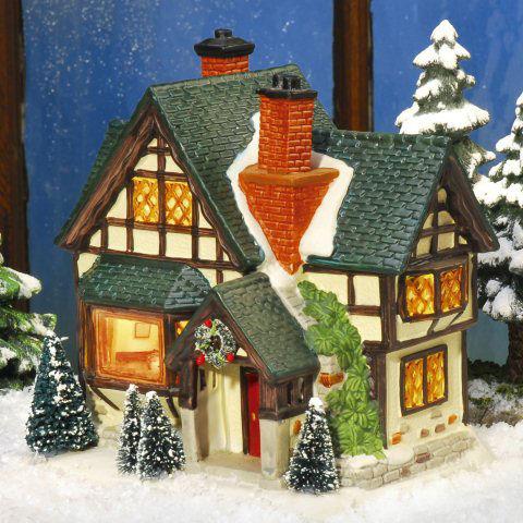 keramik lichthaus fachwerk landhaus mit beleuchtung. Black Bedroom Furniture Sets. Home Design Ideas