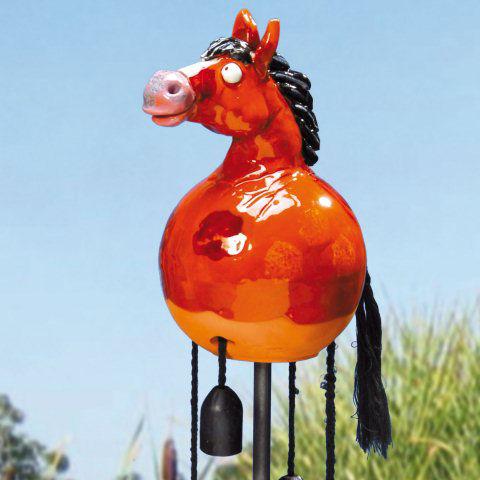 Gartenstecker pferd braun glasierte gartendeko for Gartendeko auf rechnung