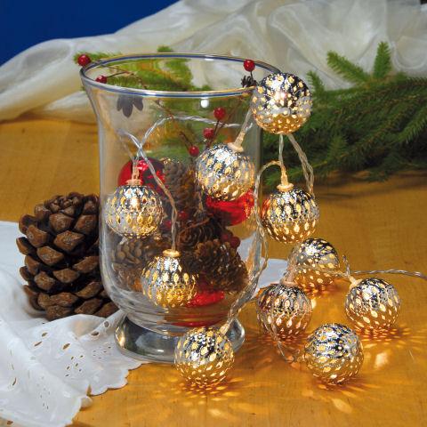 Led lichterkette oriental weihnachtsdeko 10 kugeln for Glas mit kugeln dekorieren