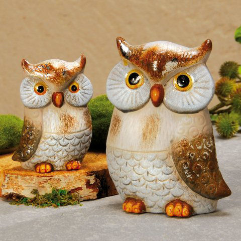 keramik eulen, tierfiguren 2er-set, Garten ideen