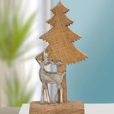 Deko Tannenbaum Holz.Deko Tannenbaum Mit Elch Weihnachtsdeko Aus Holz