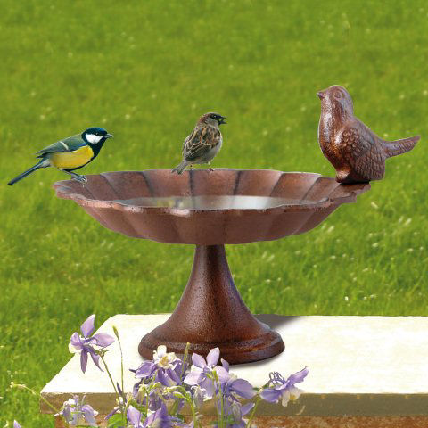 Vogeltr nke mit vogel robuste gartendeko aus gusseisen for Gartendeko gusseisen