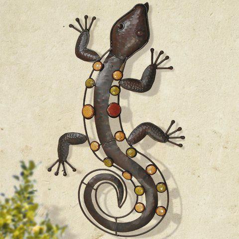 Dekofigur salamander wanddeko tierfigur aus eisen for Wanddeko aussenbereich