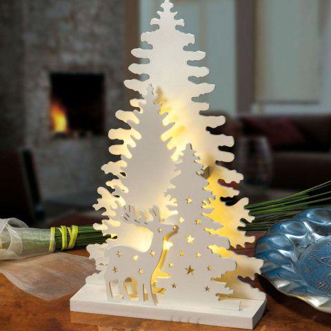Led winterwald mit hirsch echtholz weihnachtsdekoration - Moderne weihnachtsdekoration ...