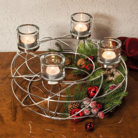 Adventskranz corona silberfarbene weihnachtsdeko - Metall adventskranz ...
