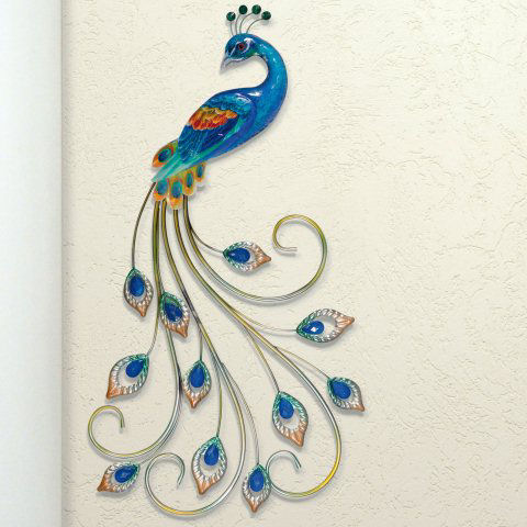 "Wandrelief ""Pfau"", Wanddekoration aus Metall"