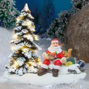 """Lichthäuser Miniaturfiguren Set """"Weihnachtsmann im Wald"""""""