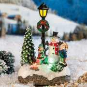 """Lichthäuser Miniaturfiguren """"Schneemanngruppe mit LED"""""""