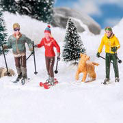 """Lichthäuser Miniaturfiguren """"Schneewanderer mit Hund"""""""