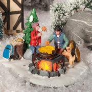 """Lichthäuser Miniaturfiguren Set """"Winter-Grillen mit Hund"""""""