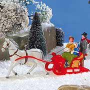 """Lichthäuser Miniaturfiguren Set """"Schlitten im Schnee"""""""