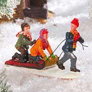 """Lichthäuser Miniaturfiguren """"Kinder & Schneematratze"""""""