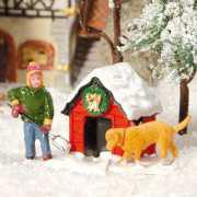 """Lichthäuser Miniaturfiguren Set """"Hundehütte im Schnee"""""""