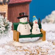 """Lichthäuser Miniatur Weihnachtsdeko """"Schneemänner auf Bank"""""""