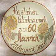 """Geburtstagsteller """"Sonnenblumen"""", Wandteller aus Keramik"""
