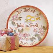 """Hochzeitsteller """"Blumen"""", Hochzeitsgeschenk aus Keramik"""