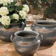 Bauchiger Keramik Kübel, grau glasiert, mit Bodenloch