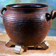 Bauchiger Keramik Kübel, braun glasiert, ohne Bodenloch