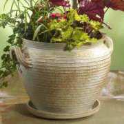 Bauchiger Keramik Kübel, hell glasiert, ohne Bodenloch