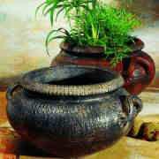 Keramik Barockkübel mit Henkel und Bodenloch