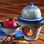 Keramik Apfelbräter mit Rezept, 3-teilig, hell
