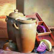 Gärtopf aus handgetöpfertem Steinzeug mit Anleitung und Rezept