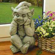 Steinguss Deko Gartenfigur, Wilbert der Träumer