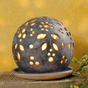 Lichtkugel aus Keramik, Deko Stimmungslampe, granit