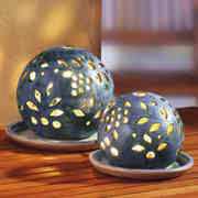 Lichtkugeln 2er-Set, Deko Stimmungslampen aus Keramik