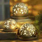 Lichtkugeln 3er-Set, Deko Stimmungslampen aus Keramik