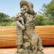 Steinguss Deko Gartenfigur, Junge mit Hund