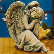 Steinguss Gartenfigur & Grabschmuck, sitzender Engel