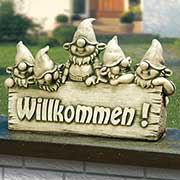 Steinguss Deko Gartenfigur, Willkommen-Begrüßungsstein