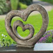 """Gartenskulptur """"Zwei Herzen"""", Dekoherz für Garten & Terrasse"""