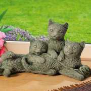 """Gartenfigur """"Katzenkinder"""", Tierfigur Skulptur aus Steinguss"""