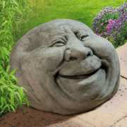 """Gartenfigur """"lachendes Steingesicht"""", Gartenskulptur"""